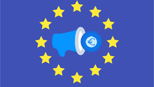 the flag of the european union with a megaphone and the sign of the Euro