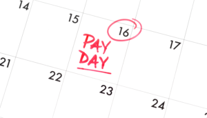 """a calendar with """"pay day"""" marked on it"""