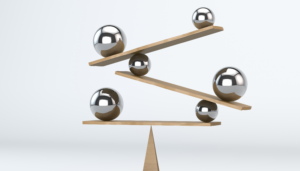 balls and boards placed in a complicated balance
