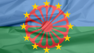the romani wheel and the EU stars on a blue and green background