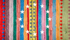 colourful romani carpet with the EU stars on it