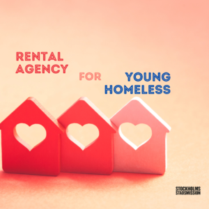 3 little houses with th writing: Rental agency for young homeless