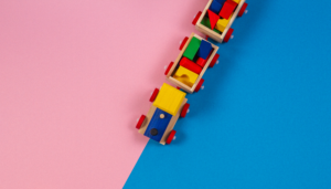 toy truck on a pink and blue background