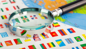 country flags with a magnifying glass
