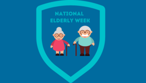 two elderly people protected by a shield