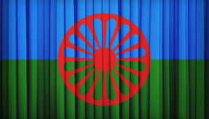 red wheel on a green and blue background