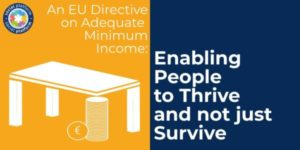 """Table supported by a pile of coins on a yellow background. On a blue background on its right a writing """"Enabling people to thrive and not just survive"""""""