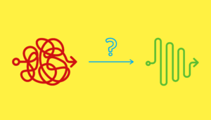 a scribble, an arrow and a wavy line with a question mark