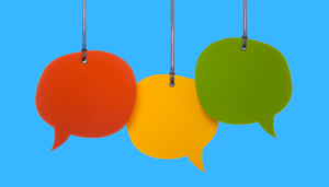 three speech bubbles on a blue background