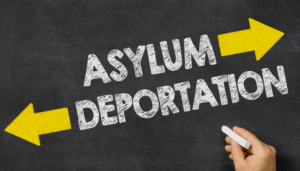 the words asylum and deportation on a blackboard