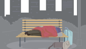 a person sleeping on a bench with suitcases