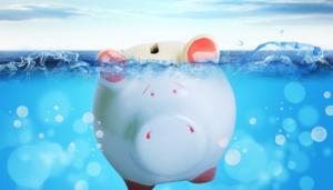 a sinking piggy bank