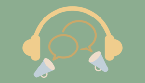 speech bubbles, megaphones and headphones